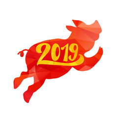2019 happy new year greeting with pig vector image
