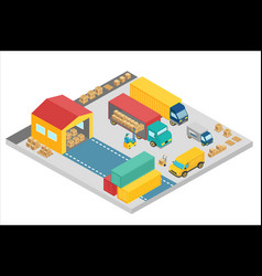3d isometric process warehouse company vector