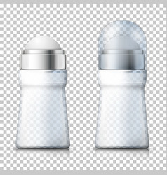 3d realistic transparent deodorant bottles vector