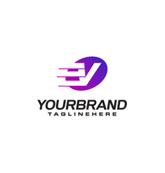 Abstract letter v logo with fast speed lines fast vector