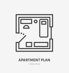 apartment plan flat line icon thin sign of vector image