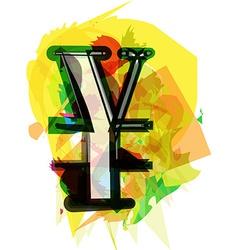 Artistic Yen sign vector