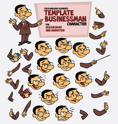 Asian businessman face and body elements parts of vector
