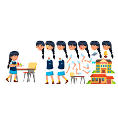 Asian girl primary school child animation vector