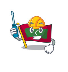 Automotive cartoon flag maldives in with mascot vector