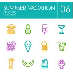 bar beach icon set summer vacation vector image