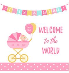 bashower girl card pink banner with pram vector image