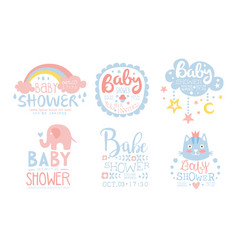Bashower invitation templates set cute design vector