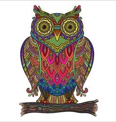 Beautiful decorative owl with a lot of de vector