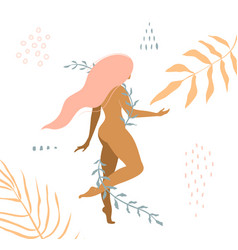 beautiful nude woman with floral ornaments apparel vector image