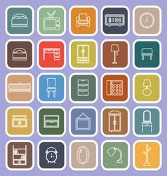 Bedroom line flat icons on violet background vector image