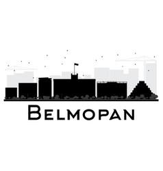 belmopan city skyline black and white silhouette vector image