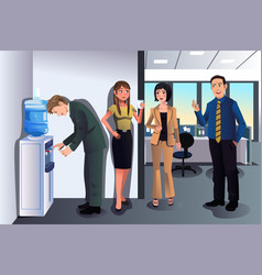 business people chatting near a water cooler vector image
