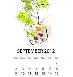 Calendar with vegetables for 2012 september vector