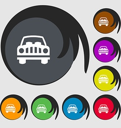 Car Icon sign Symbols on eight colored buttons vector image