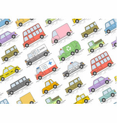 car seamless pattern flat colors style il vector image