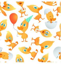 cartoon ducks pattern seamless background vector image