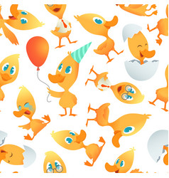 Cartoon ducks pattern seamless background with vector