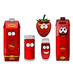 Cartoon smiling strawberry juice characters vector image