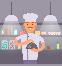 chef in uniform holding round cloche tray with vector image