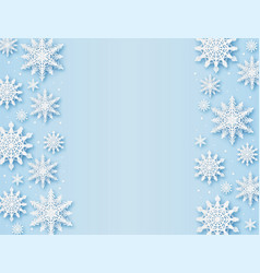 christmas greeting card paper cut snowflakes xmas vector image