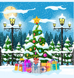 christmas nature landscape vector image