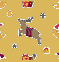 Christmas template deer moon in a santa hat and vector