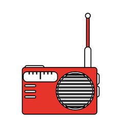 Color silhouette image of portable radio vector