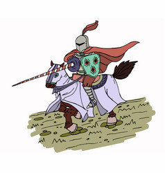 Colorful medieval spear knight on horse vector