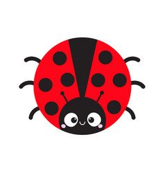 Cute cartoon lady bug round icon cute cartoon vector