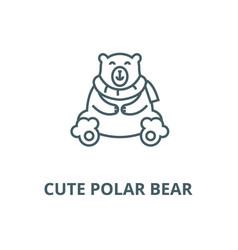 cute polar bear line icon cute polar bear vector image
