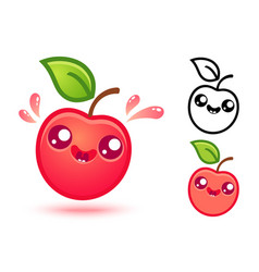 Cute red apple with juicy drops vector