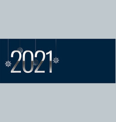 Decorative new year 2021 on teal blue background vector