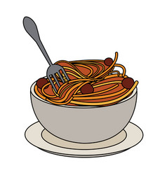 delicious italian pasta icon vector image