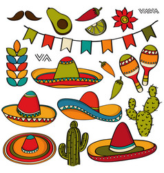 doodle mexico symbol collection isolated on white vector image