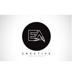 Ea modern leter logo design with black and white vector