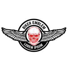 emblem with winged skull design element for vector image