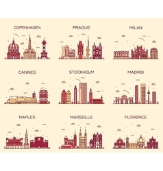 Europe skylines Prague Cannes Madrid line art vector image