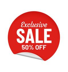 Exclusive sale 50 percent off round sticker vector