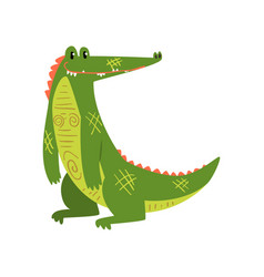 friendly smiling crocodile funny predator cartoon vector image
