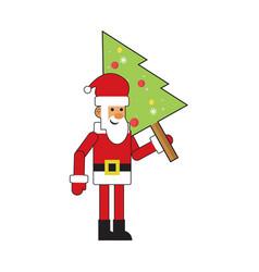 fun santa claus with christmas tree vector image