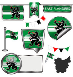 Glossy icons with flag of east flanders belgium vector