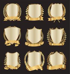 golden shields laurel wreath with ribbon vector image