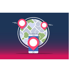 Gps navigator mock up with map on gradient vector