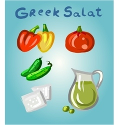 Greek salad and its ingredients vector image