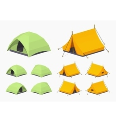 Green and orange camping tents vector