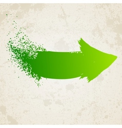 Green grunge arrow vector image