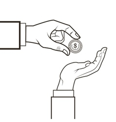 hands and coin icon vector image