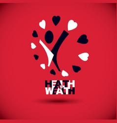 healthy lifestyle conceptual logo symbol for use vector image