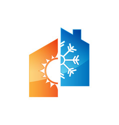Heating and cooling logos vector
